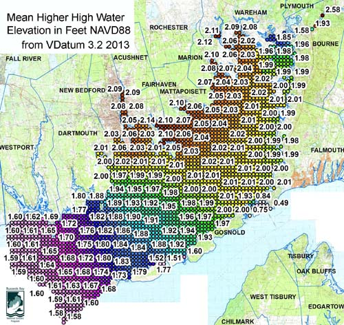 Mean Higher High Water elevations in Buzzards Bay