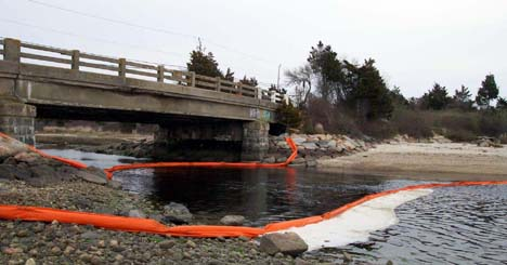Deployment of harbor boom at Little River, Dartmouth, in response to 2003 No. 6 Fuel oil spill in Buzzards Bay