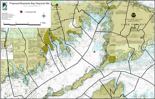 click for 1.2M B map of Buzzards Bay municipal water boundaries and proposed disposal site