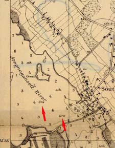 Eelgrass in Apponagansett Bay indicated on 1900 chart of New Bedford Harbor