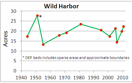 Eelgrass cover over time in Wild Harbor