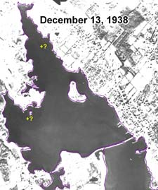 Absence of eelgrass in Apponagansett Bay on 13 December 1938 aerial photograph.