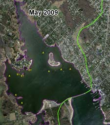 Absence of eelgrass in the MassGIS May 2009 aerial photograph.