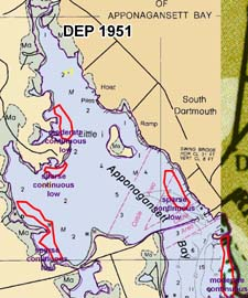 Eelgrass in Apponagansett Bay in 1951 as mapped by DEP.
