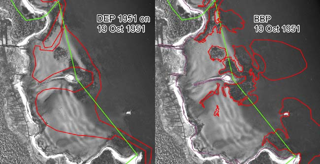 DEP 1951 eelgrass boundary versus 1951 BBP reanalysis for this study