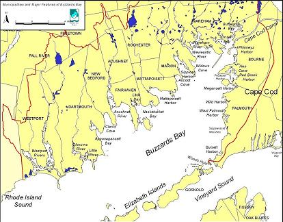 Map of Buzzards Bay embayments.