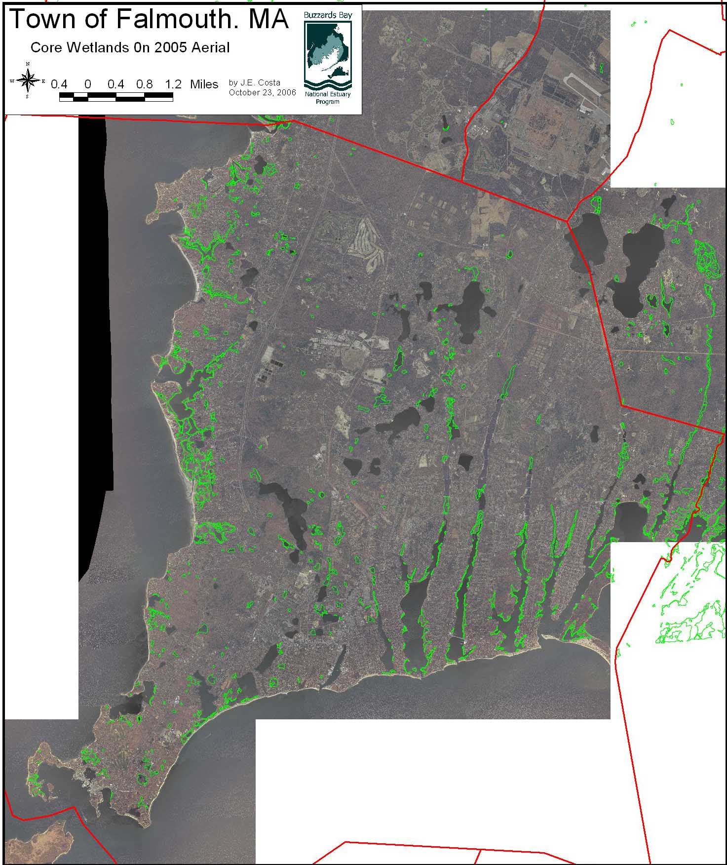 Falmouth buzzards bay national estuary program massgis land use map of falmouth 1985 vs 1999 open 170 kb size map geenschuldenfo Gallery