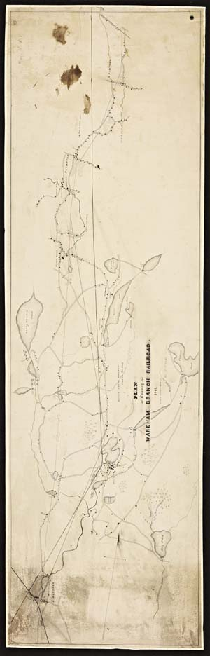 1847 Railroad Plan Map of the lower Weweantic River