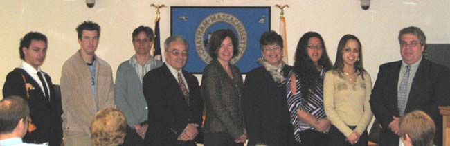 Secretary of Environmental Affairs, Ellen Roy Herzfelder, CZM Director, Susan Snow-Cotter, and State Representative Shirley Gomes award the BBAC a stormwater grant.