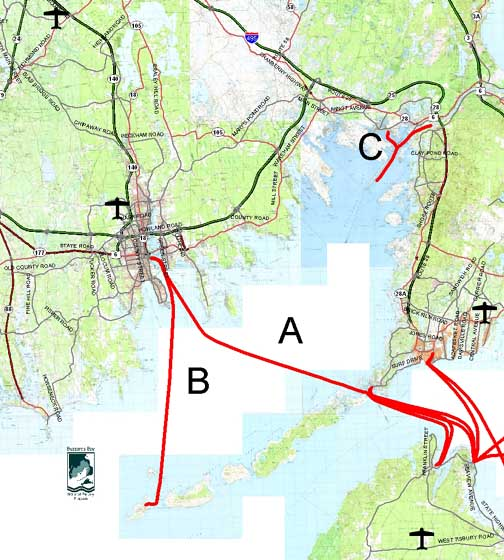 Map of Ferry Services in Buzzards Bay.
