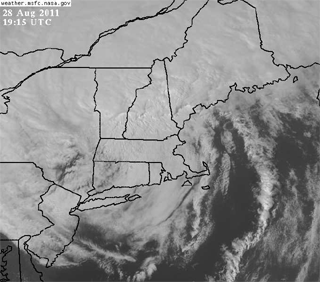 Satellite IR image of Hurricane Irene as it diminished to a tropical storm