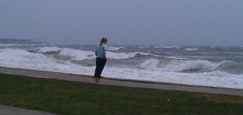 Observing the storm surf near Falmouth Heights.