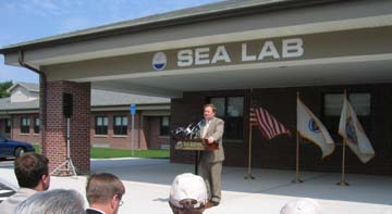 New Bedford Mayor Kalisz at the SeaLab dedication ceremony.