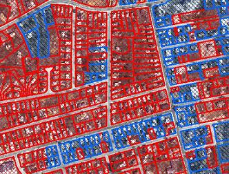 parcels assumed to be sewered (blue) versus septic (red)