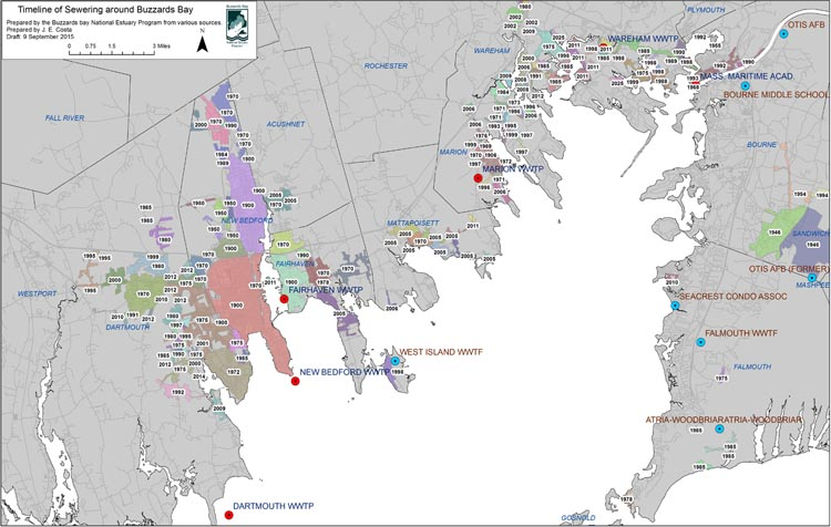 Map of the Buzzards Bay watershed showing sewered areas and major sewage discharges.