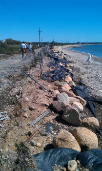 Erosion and overwash on the Shining Sea Bikeway near Oyster Pond and Nobska Point.