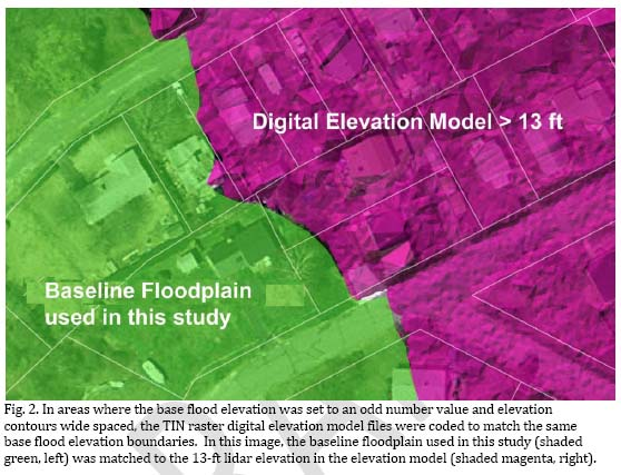 Fig 2. Use of TIN digital elevation model for sea level rise flood zone expansion study.