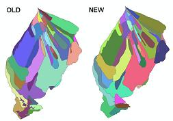 Original and cleaned up and subwatersheds for the Wareham River watershed.