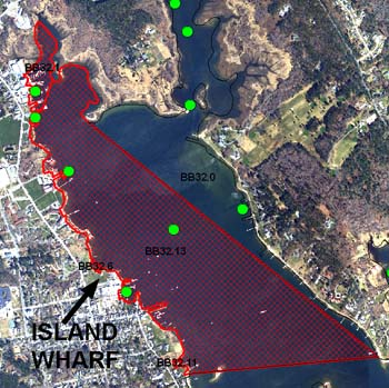 Closed shellfish beds near Island Wharf watershed