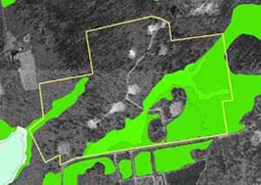 Wetlands delineation by the DEP wetlands Conservancy program based on interpretation of aerial photographs.