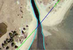 2001 color aerial photograph of the western entrance with estimated sewer line position.