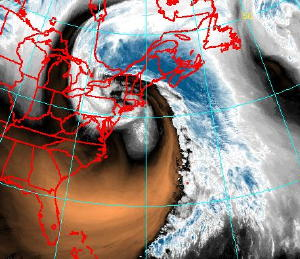 April 16, 2007 satellite image of the passing Nor'easter