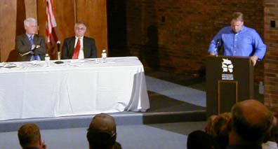 Congressmen Barney Frank and Bill Delahunt hold a public hearing.