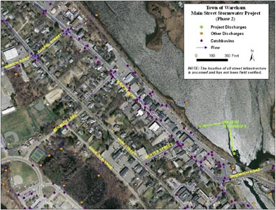 Main St Wareham Stormwater network in Phase 2 Streetscape area