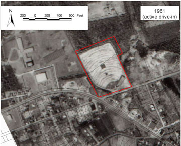 1961 aerial of Fairhaven Drive-in Theater site.